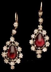 Georgian cabochon garnet and rose diamond ear pendants, foil backed gold settings