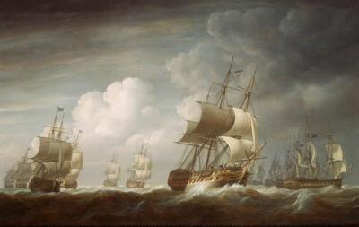 A Fleet of East Indiamen at Sea by Nicholas Pocock 1802