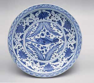 Blue and White Plate Yuan Dynasty 1279 - 1368