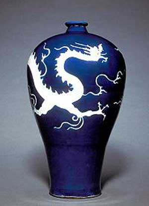 Yuan dynasty (1279-1368) Mid 14th century Porcelain with cobalt blue decoration H:33.6 cm