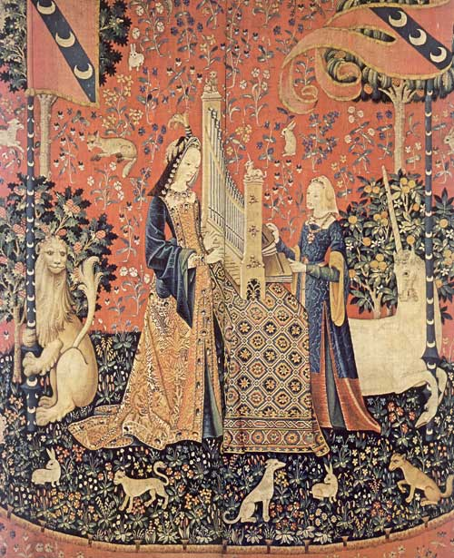 One of a set of six woven wool and silk tapestries known collectively as the Lady and the Unicorn five of which are meant to represent the senses - this one, sound