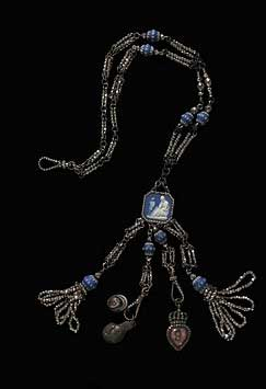 Chatelaine of blue jasperware and cut-steel beads with a plaque and pendants, Josiah Wedgwood and Sons Ltd., Etruria, ca. 1780-1800. Victoria & Albert Museum, London