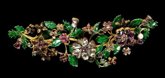 Foiled rock crystals, pearls and garnets set in enamelled gold c1840 V & A Museum, London
