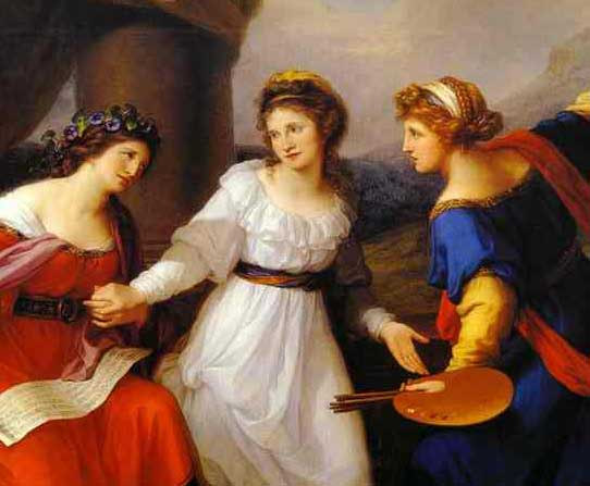 Detail of a Painting by Angelica Kauffman placing herself between Painting and Music