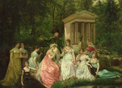 Napoleon, Josephine and her ladies in the garden at Malmaison by Jean Louis Victor Viger du Vigneau