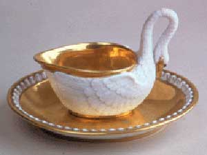 Swan cup with saucer made by Darte Freres Manufactory, Musee National du Chateau de Malmaison, France.