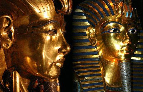 Gold Masks of Psusennes 1 and Tutankhamun