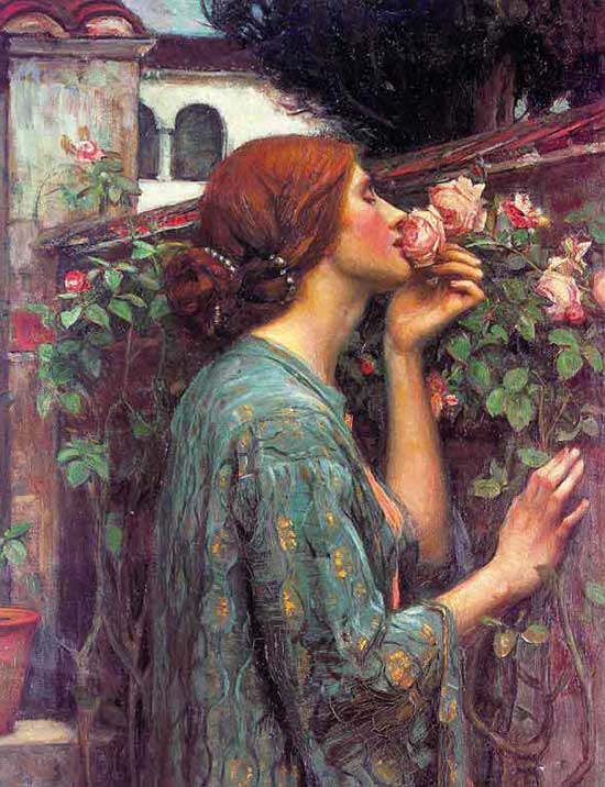 A Rose smelling a Rose by John Williams Waterhouse