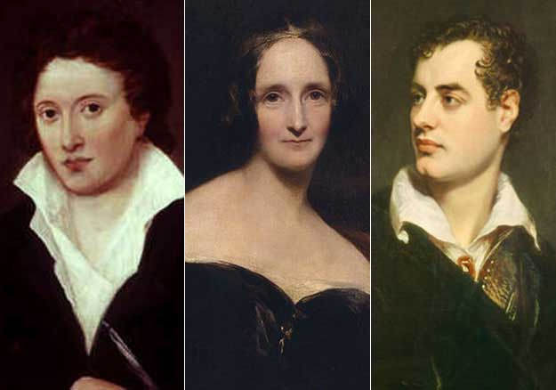 Percy Shelley, his wife Mary and friend Lord Byron