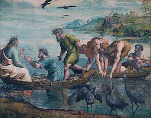 "In this cartoon by Raphael, Christ tells Peter to cast his net into the water whereupon he and his fellow apostles make a miraculous catch. The story refers to Peter's role as ""fisher of men"", who converts others to Christianity. It also demonstrates his humility as he kneels before Christ to acknowledge His divinity, and confess his own sinfulness. Victoria & Albert Museum, London"