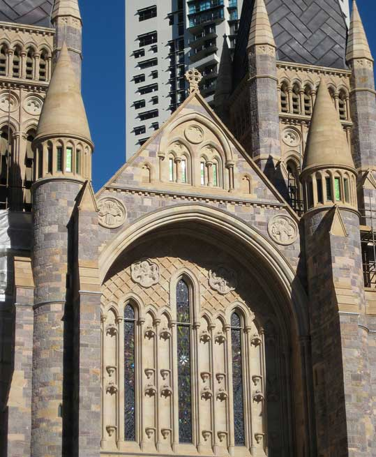 Celtic Cross on the facade at St John's Cathedral Brisbane, blessed by Dean David Thomas