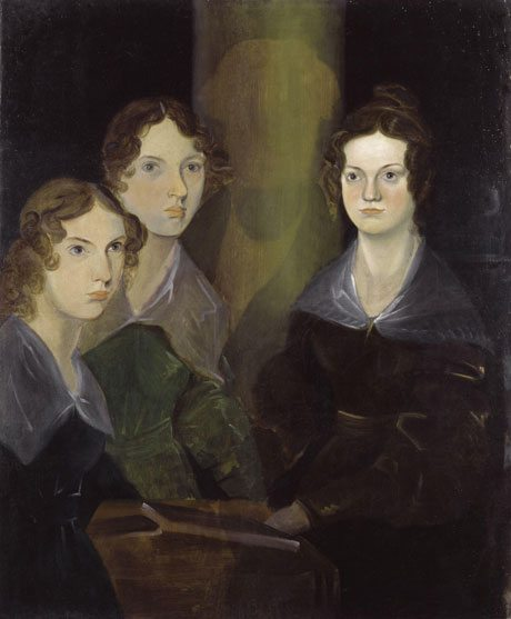 Damaged painting by Branwell Bronte of his sisters. He was part of the picture and has been removed.