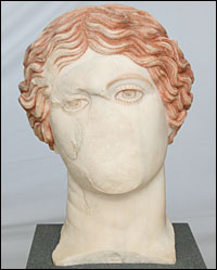 Remains of a painted head of an Amazon Warrior found at Herculaneum
