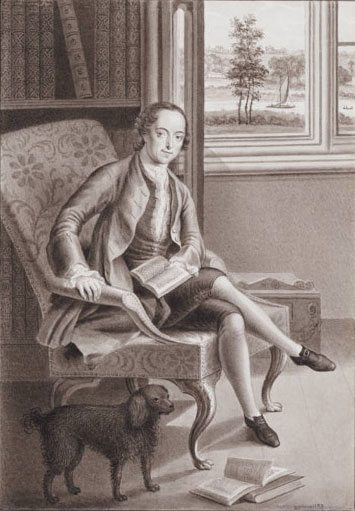 Horace Walpole in his library at Strawberry Hills
