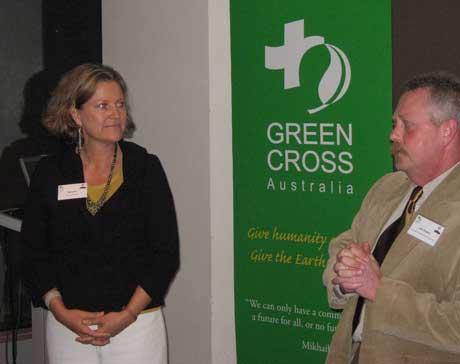 Mara Bun, CEO Green Cross Australia with Banner