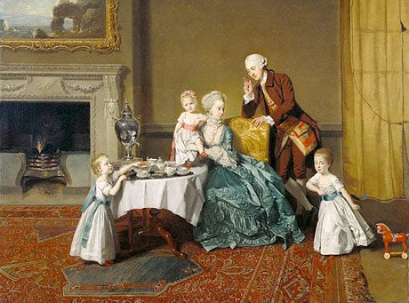 Lord Willoughby and his family, taking tea