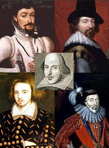 The Shakespeare Candidates, Edward de Vere top left, Christopher Marlowe bottom left, Francis Bacon, top right and the 6th Earl Derby bottom right with dear old Will in the middle