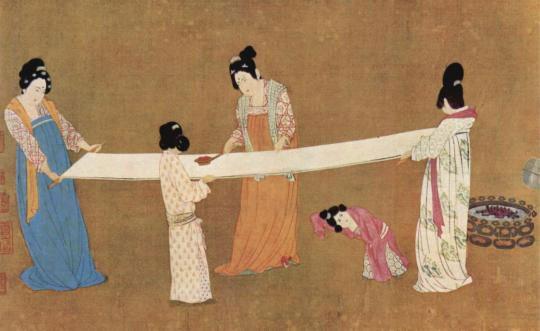 Chinese-Women-Ironing Silk