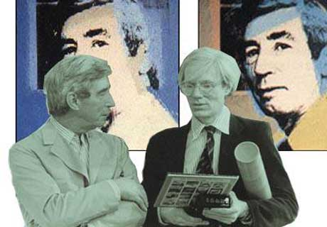 Andy Warhol with Belgian Artist Hergé Georges Remi (1907–1983) the creator of Tin Tin