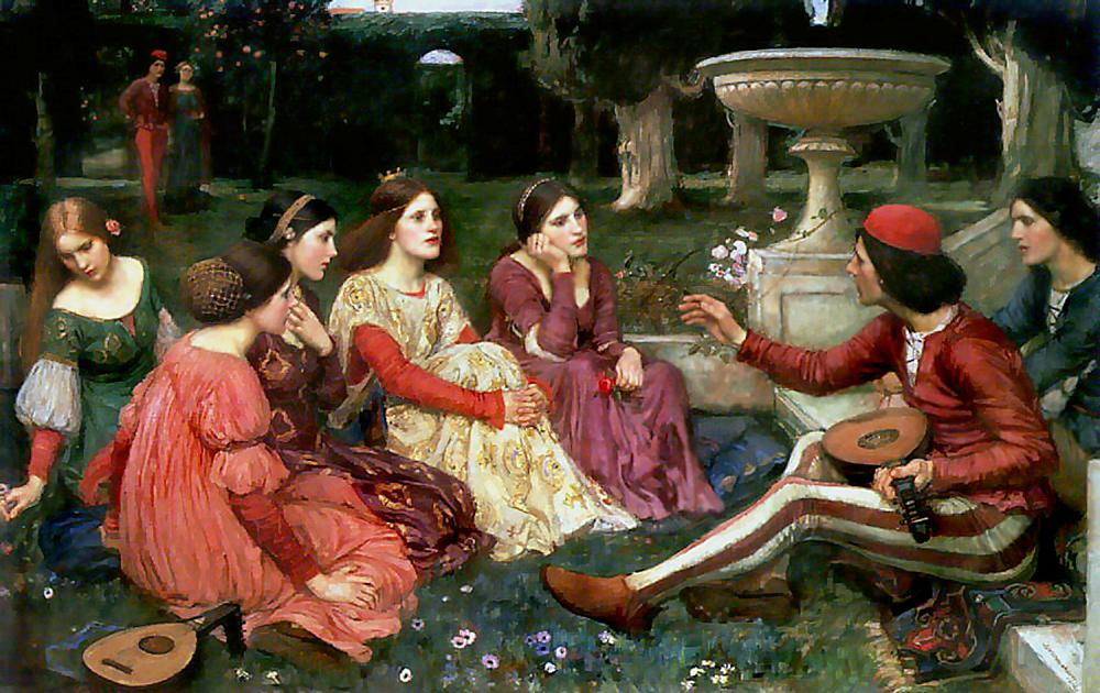 John Williams Waterhouse, A Tale from the Decameron, 1916, Oil on linen, 101 x 159, National Museums Liverpool
