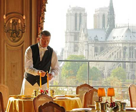 The 800 year old Cathedral of Notre Dame as seen from the dining room at the 400 year old restaurant, Le Tour D'argent, Paris