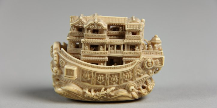 Netsuke pleasure boat made of ivory, 19th century, The Metropolitan Museum of Art, New York