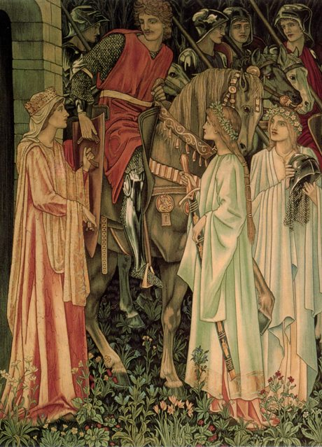 The Arming and Departure of the Knights. Number 2 of the Holy Grail tapestries woven by Morris & Co. 1891-94 for Stanmore Hall - detail
