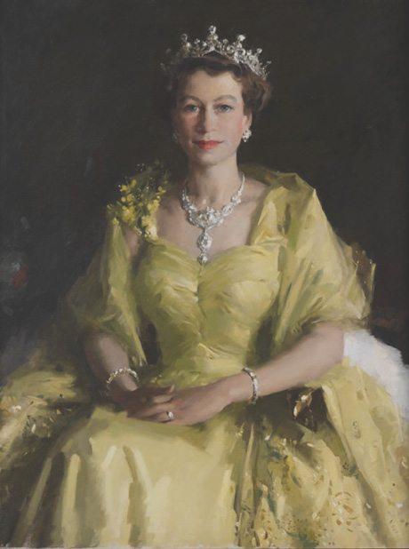 Queen Elizabeth wearing her wattle spray embroidered dress