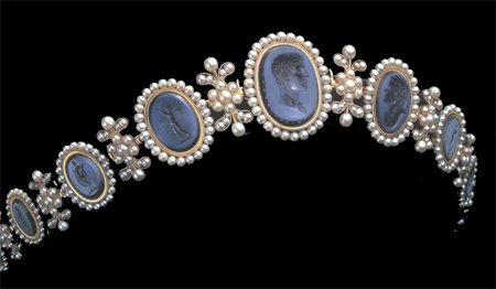 Empress Josephine's Cameo Diadem of Lapis cameos and delicate pearls set in gold. The centre cameo is a portrait of Napoleon Bonaparte