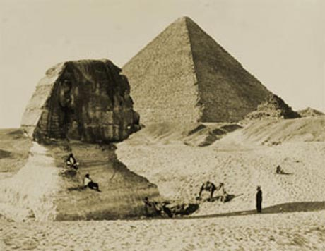 The great Pyramid and the Sphinx with just its head out of the sand by Francis Bedford