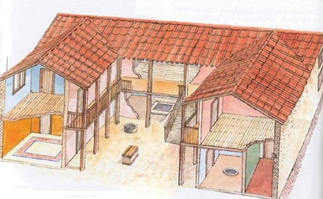 Ancient greek house and garden the culture concept circle for Casas griegas antiguas