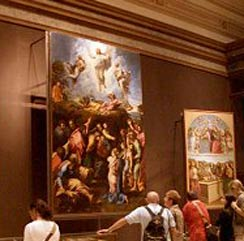 Transfiguration is displayed in the Pinacoteca in Vatican city, possibly Rome's best picture gallery.