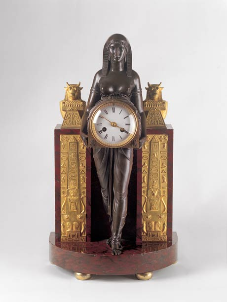 Isis Clock c1807 designed by Thomas Hope and made in Paris of bronze, ormolu, marble and glass, courtesy David Roche Collection