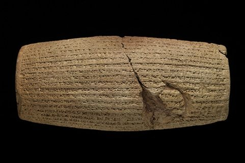 The Cyrus Cylinder. Baked clay. Achaemenid, 539–538 B.C. Excavated in Babylon, Iraq, in 1879. British Museum 90920. © Trustees of the British Museum