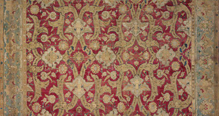 Silk warp and wft, silk pile with metal-wrapped thread 1600 - 1625, Isfahan (Iran) Carpets of this type came to Europe in the early 17th century through trade or as royal gifts. Many were found in Poland and were later mistaken for Polish products. This gave rise to the term 'Polonaise carpet'.