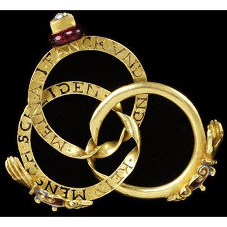 Triple-hoop enamelled gold ring set with a diamond c1600-1650, inscribed with phrases used in marriage services courtesy V & A, London