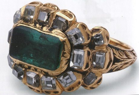 Stunning emerald and table cut diamond ring set in gold and made in England 1685-1701 courtesy V & A at London