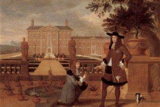 King Charles II being presented with the symbol of hospitality, the pineapple that had just been grown in his hothouse, the first in England. In the background is a formal garden ...c1675-80 Oil on Canvas, artist unknown