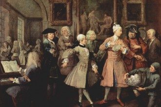 British artist William William Hogarth recorded the morning levée of his country men, who adopted many French customs