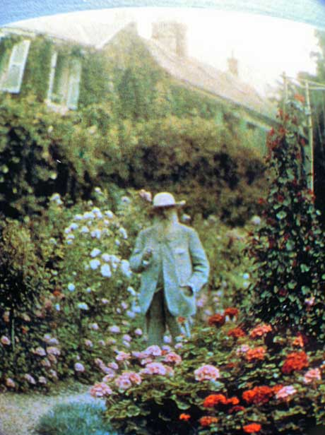 Hand coloured image from a famous Photograph of Claude Monet in his garden courtesy Elizabeth Murray