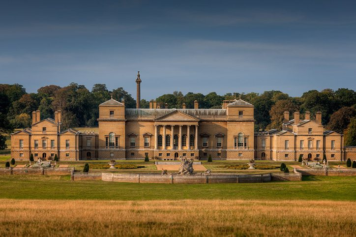 Exterior of Holkham Hall from the south, Holkham Estate in Norfolk, UK