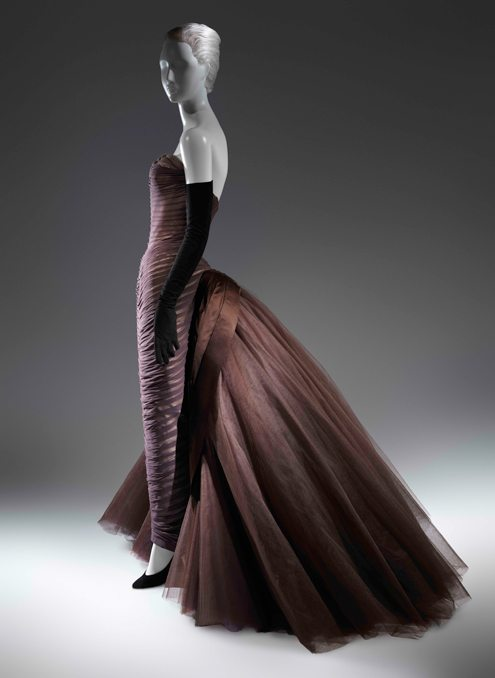 """Charles James (American, born Great Britain, 1906–1978) """"Butterfly"""" Ball Gown, ca. 1955 Brown silk chiffon, cream silk satin, brown silk satin, dark brown nylon tulle The Metropolitan Museum of Art, New York, Purchase, Friends of The Costume Institute Fund, 2013"""