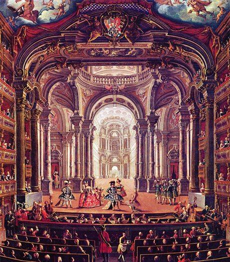 On stage at the Teatro Regio Turin in the eighteenth century by Pietro Domenico Oliviero