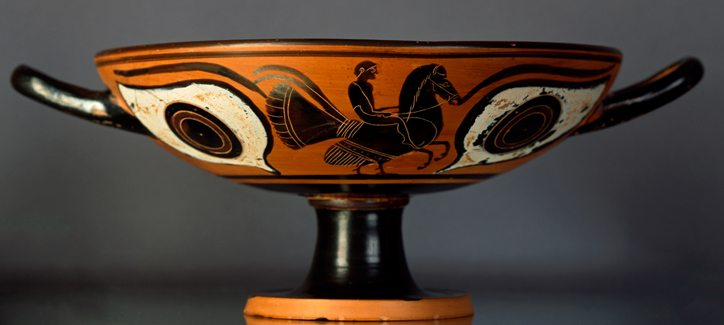 Kylix, Attic Black-figure Eye Cup c 520 - 500 B.C. Terracotta and Black Figure Painting,