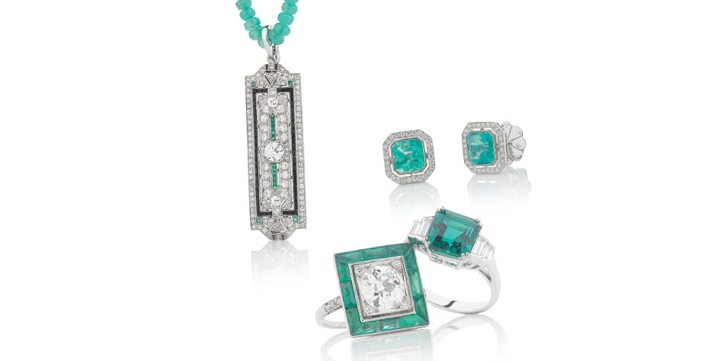 Selection of fine emerald and diamond jewellery from Rutherford, Collins Street, Melbourne