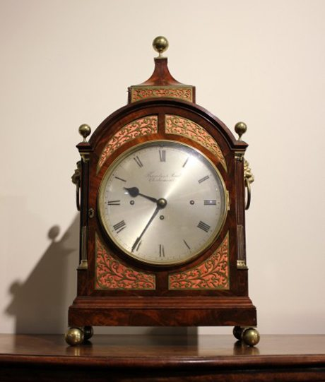 A Regency Thwaites & Reed mahogany and brass mounted 3-train Bracket Clock, courtesy Martyn Cook Antiques, Rushcutters Bay, Sydney