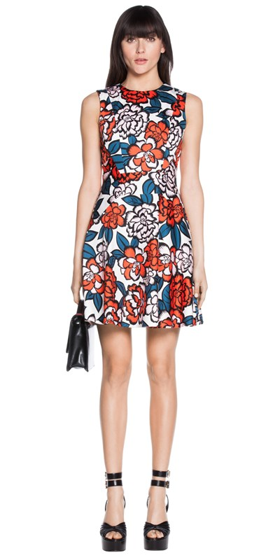 Floral-Print-Sateen-Flare-Dress-Cue