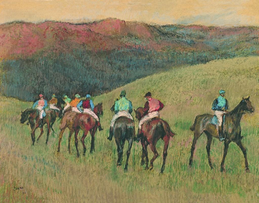 Degas: Racehorses in a landscape 1894