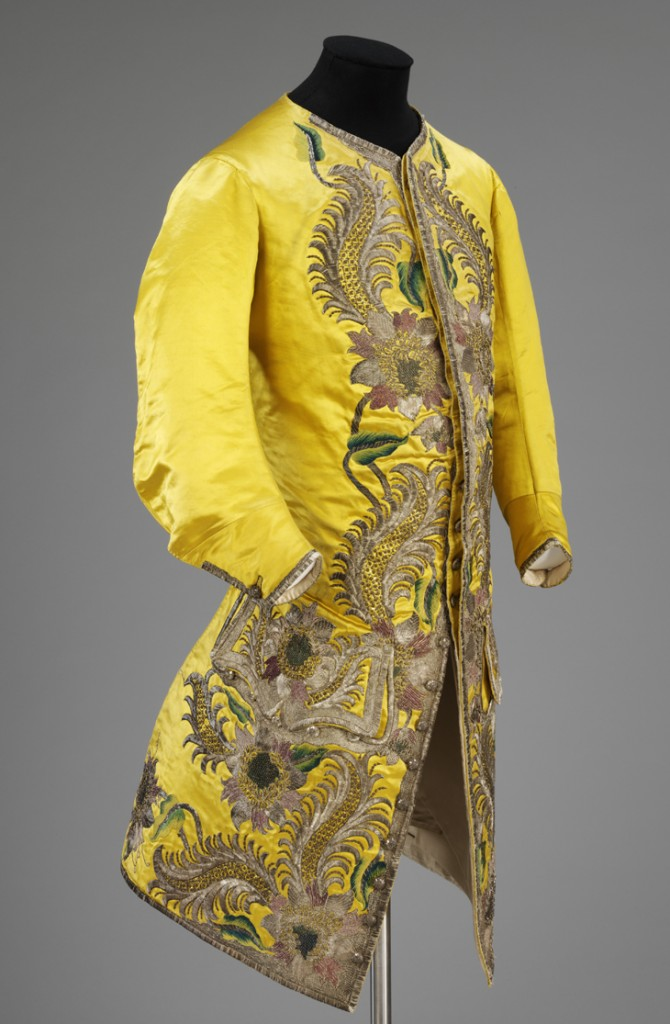 English 18th century silk coat embroidered V & A London