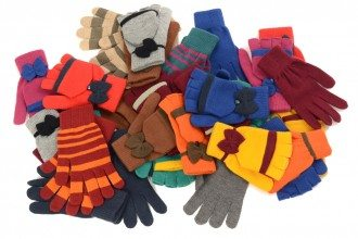 Big pile of gloves and mittens.